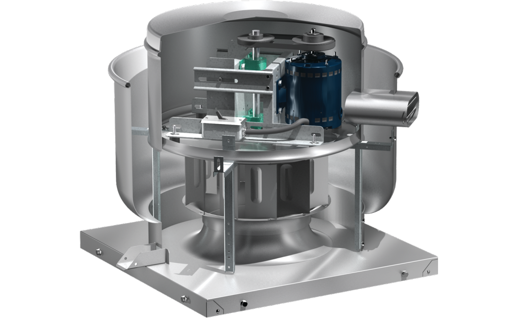 Picture of Centrifugal Upblast Exhaust Fan, Model CUBE-300, Belt Drive, Less Motor & Drive Package, 2630-14809 CFM