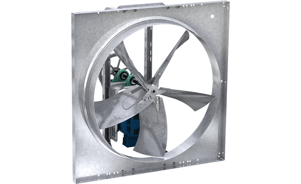Picture of Sidewall Propeller Exhaust Fan, Model SBE-2L36, Belt Drive, 1 1/2HP, 208-230/460V, 3Ph, Motor & Drives Unassembled, 11752-13848 CFM