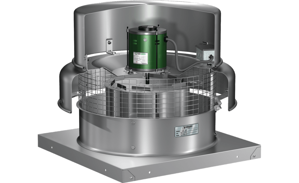 Picture of Centrifugal Downblast Exhaust Fan, Variable Speed, Model G-143, Direct Drive, Vari-Green EC motor, 3/4HP, 115/208-230V, 1Ph, 855-2347 CFM