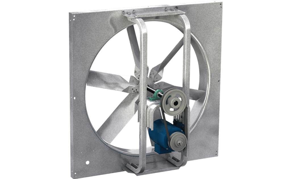 Sidewall Propeller Exhaust Fan, Model SBE-1H24, Belt Drive, Less Motor & Drive Package, 631-5281 CFM