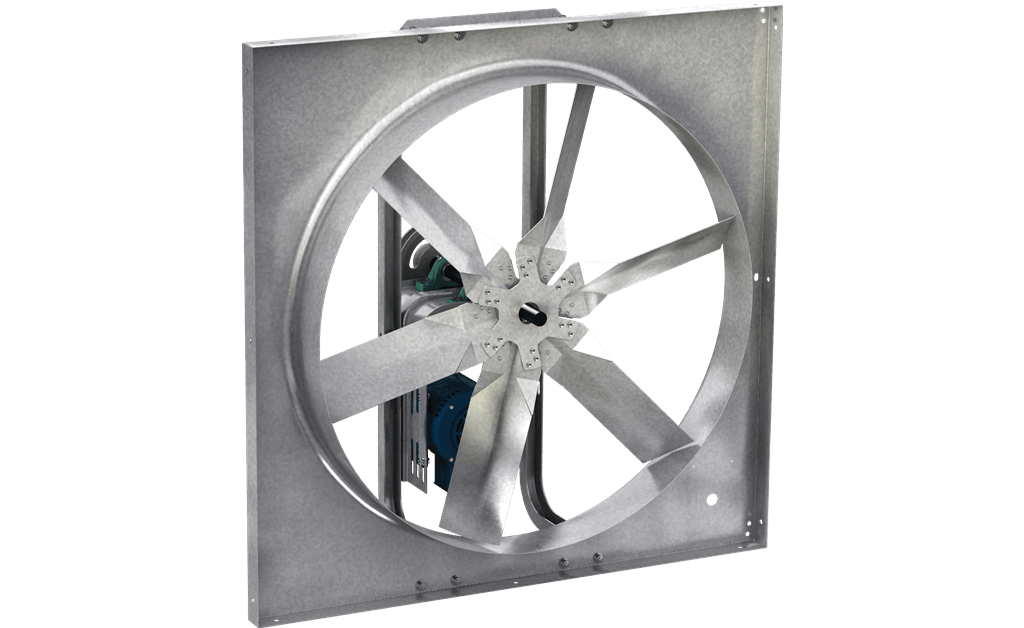 Picture of Sidewall Propeller Exhaust Fan, Model SBE-1H20, Belt Drive, 1/2HP, 208-230/460V, 3Ph, Motor & Drives Unassembled, 294-2405 CFM