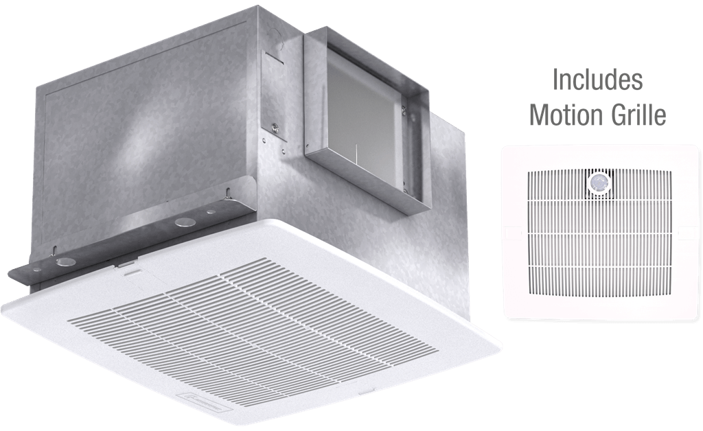 Bathroom Exhaust Fan with Motion Grille, Model SP-A110M, 115V, 1Ph, 98-130 CFM