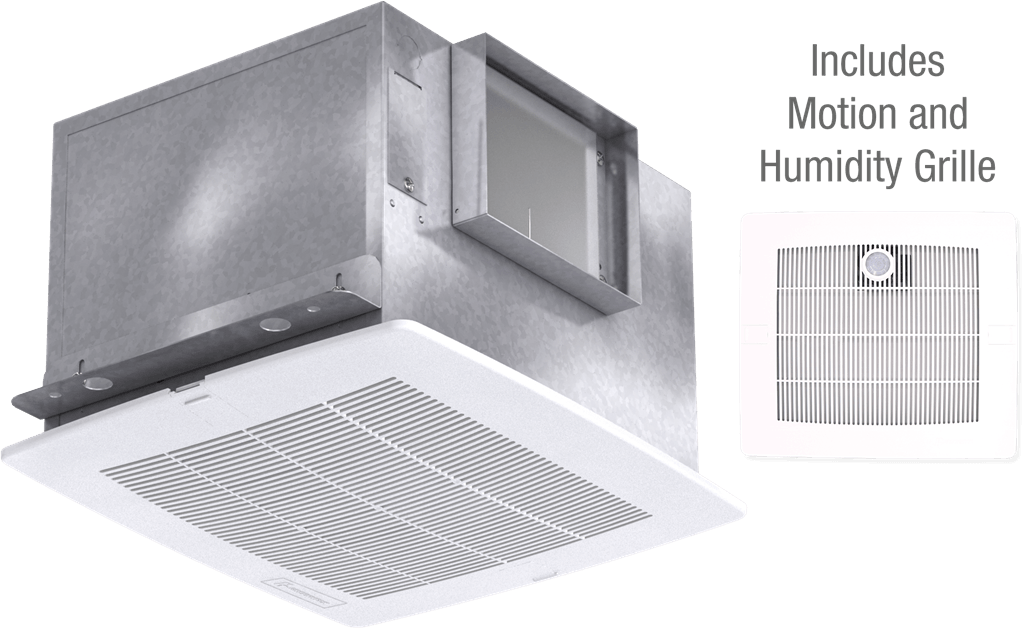 Bathroom Exhaust Fan with Motion and Humidity Grille, Model SP-A110MH, 115V, 1Ph, 98-130 CFM