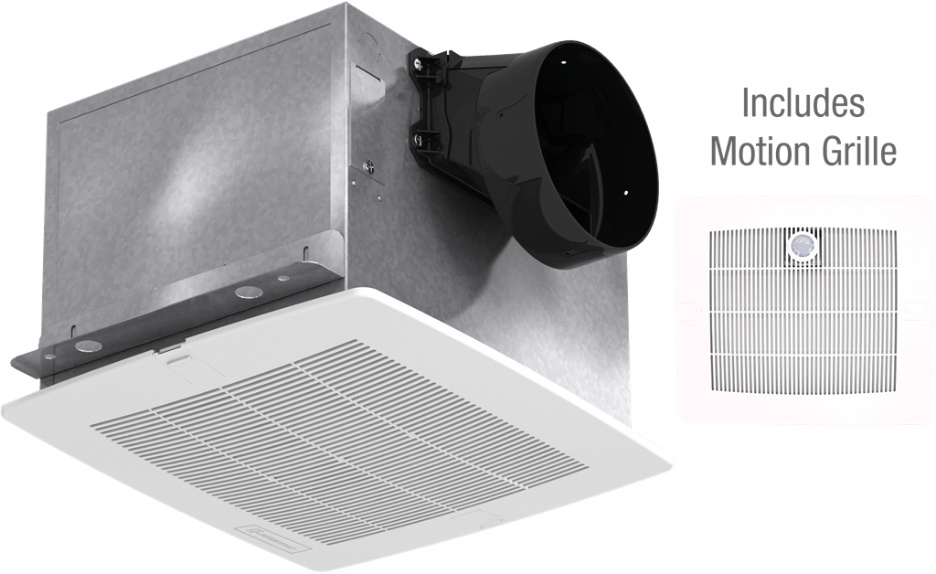 Bathroom Exhaust Fan, Constant CFM with Motion Grille, Model SP-A90-130M, Vari-Green EC Motor, 115V, 1Ph, 90-130 CFM