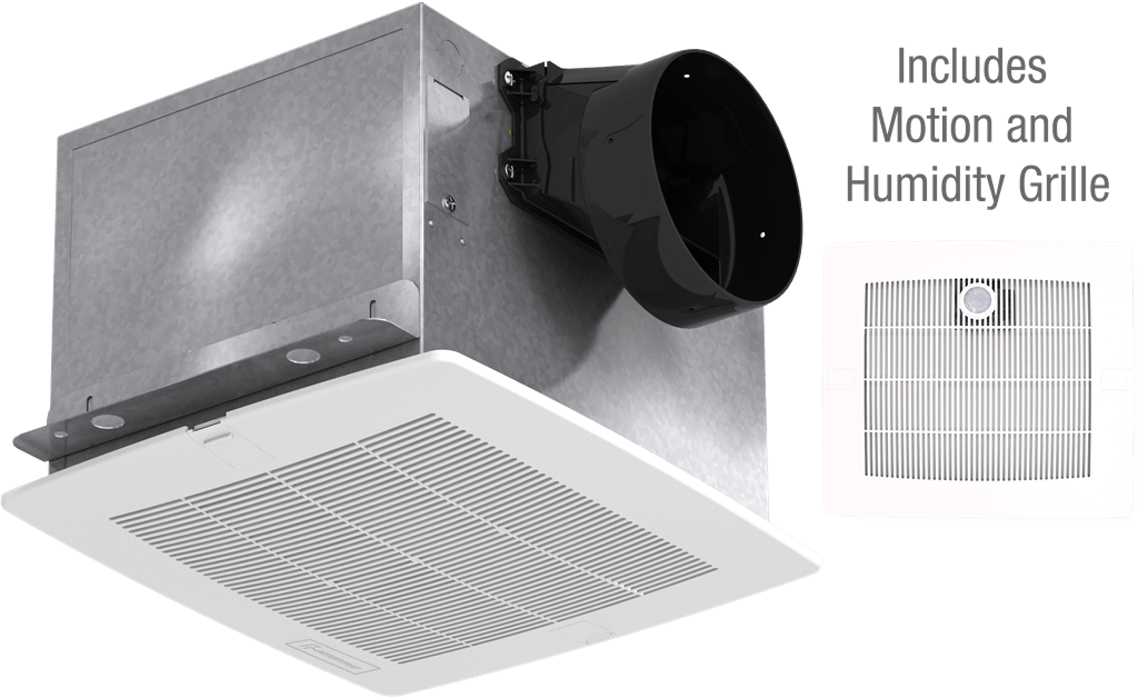 Bathroom Exhaust Fan, Constant CFM with Motion and Humidity Grille, Model SP-A90-130MH, Vari-Green EC Motor, 115V, 1Ph, 90-130 CFM