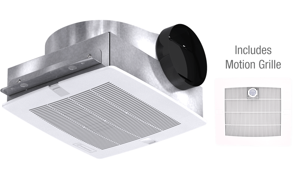 Bathroom Exhaust Fan with Motion Grille, Low Profile, Model SP-B110M, 115V, 1Ph, 50-133 CFM