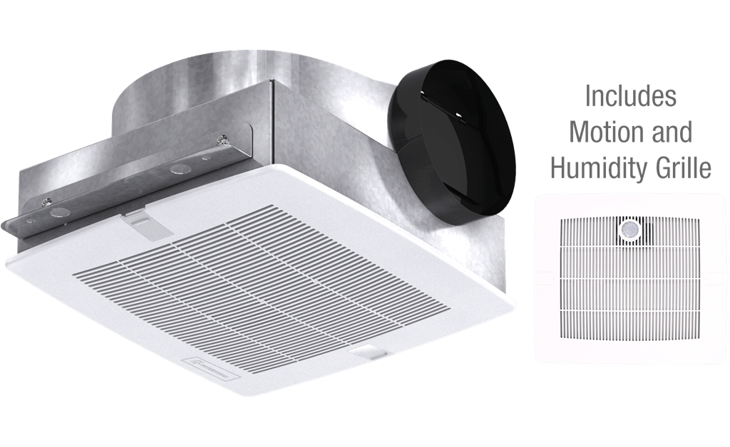 Bathroom Exhaust Fan with Motion and Humidity Grille, Low Profile, Model SP-B110MH, 115V, 1Ph, 50-133 CFM