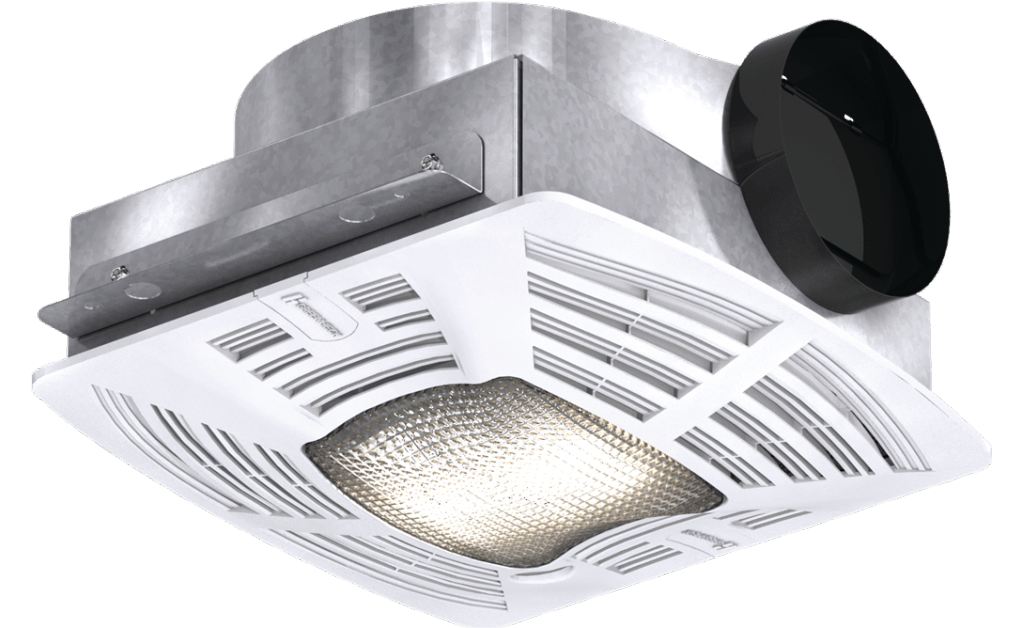 Bathroom Exhaust Fan, Low Profile, Lighted, Model SP-B90-L, 115V, 1Ph, 57-104 CFM