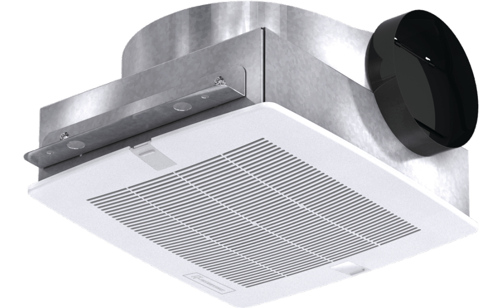 Bathroom Exhaust Fan, Low Profile, Model SP-B90, 115V, 1Ph, 57-104 CFM