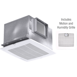 Imagen de Bathroom Exhaust Fan with Motion and Humidity Grille, Model SP-A110MH, 115V, 1Ph, 98-130 CFM