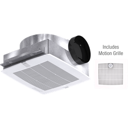 Picture of Bathroom Exhaust Fan with Motion Grille, Low Profile, Model SP-B110M, 115V, 1Ph, 50-133 CFM